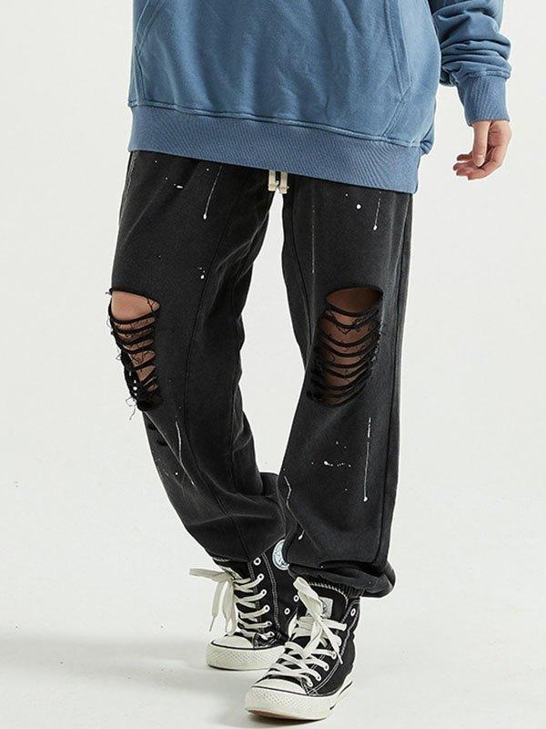 Pantalon de jogging déchiré Splash pour hommes - Noir S