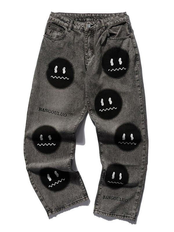 Jeans de skate décontracté Smiley Face pour hommes - Gris foncé S