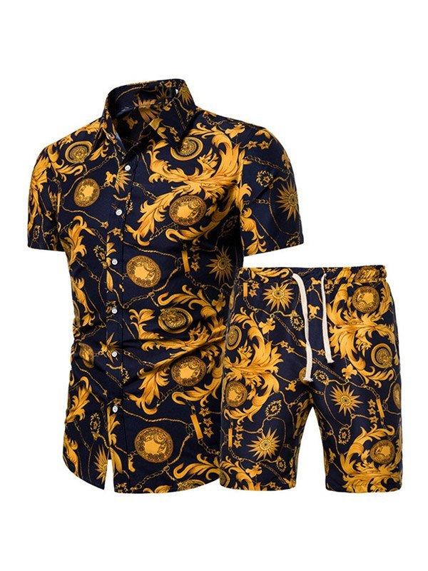 Men's Printed Shirt Shorts Set - Navy Blue L