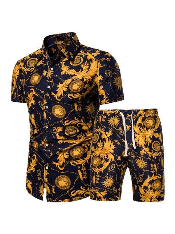Men's Printed Shirt Shorts Set - Navy Blue M