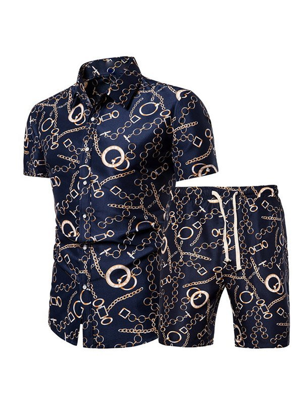 Men's Baroque Print Two-Piece Outfit - Navy Blue XL