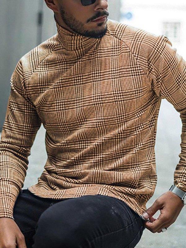 T-shirt a maniche lunghe con collo alto scozzese da uomo - Cachi 3XL
