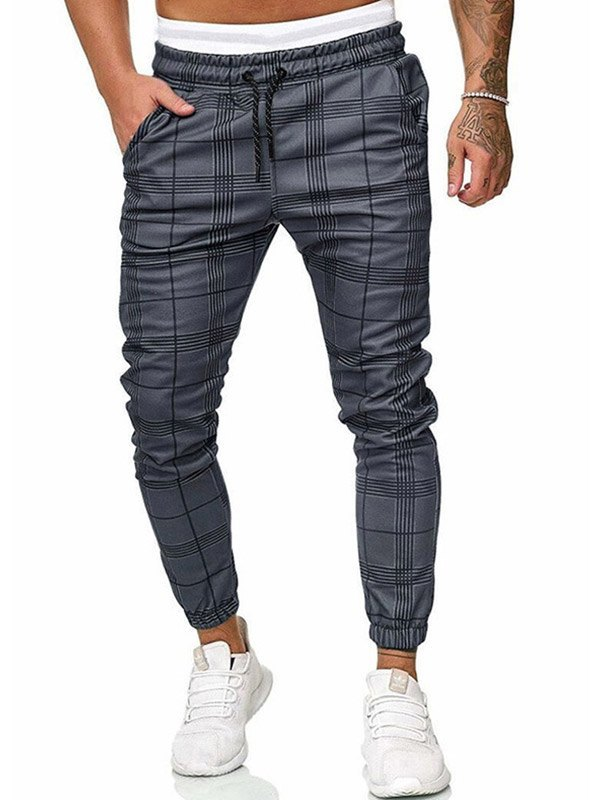 Men's Plaid Drawstring Pants -