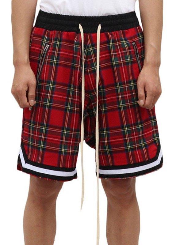 Men's Tartan Plaid Drawstring Shorts -