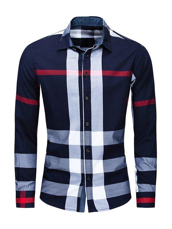 Chemise à carreaux color block pour hommes - Bleu marin M