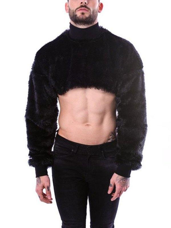 Men's Turtleneck Fleece Cropped Top - Black 2XL