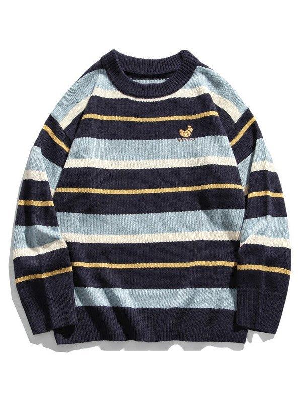 Pull en tricot à rayures et blocs de couleurs pour hommes - Bleu M