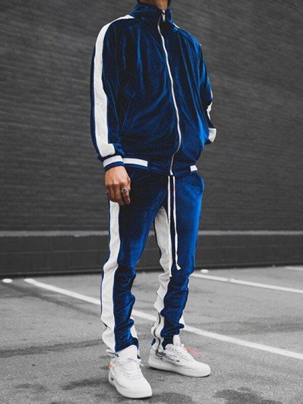 Men's Velour Contrast Tracksuit Set - Blue XL