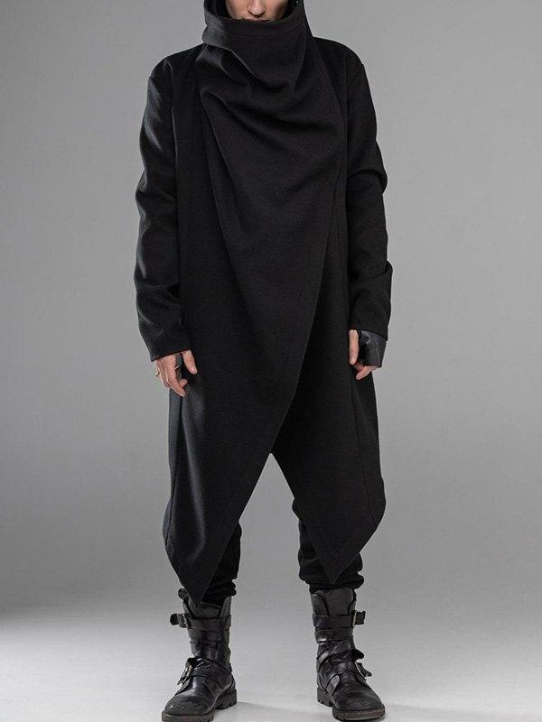 Cappotto poncho da uomo con collo a cappuccio - Nero L