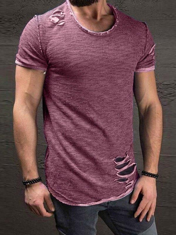 Men's Distressed Short Sleeve Tee - Purple S