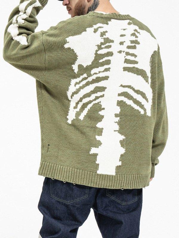 Men's Distressed Skull Print Sweater - Green L