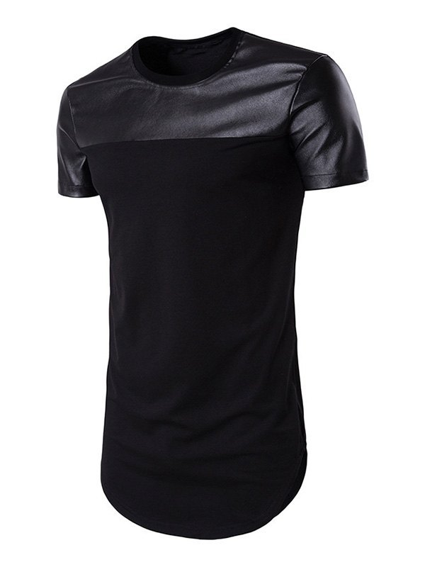 Men's Pu Leather Patchwork Tee - Black S