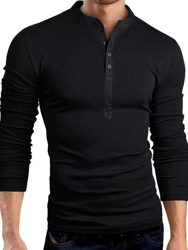 Men's Buttoned Henley Tee - Black L