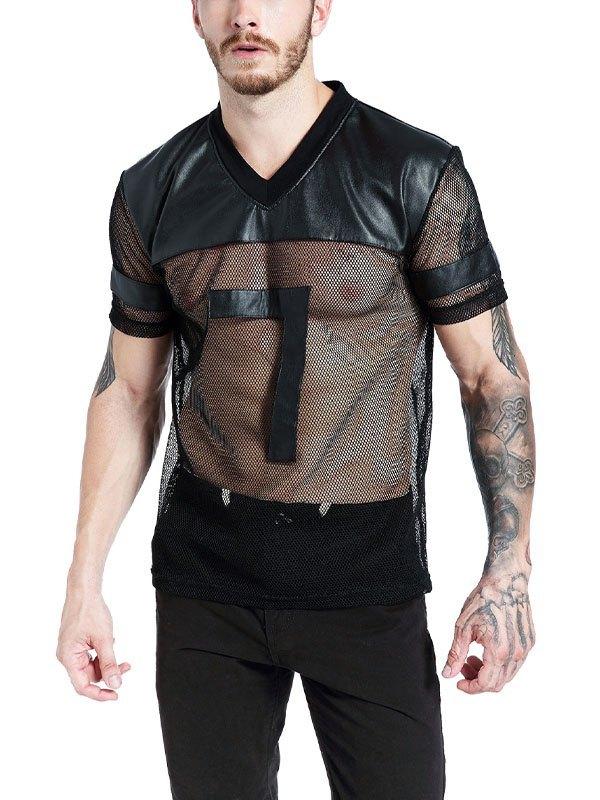 Men's Pu Leather Paneled Mesh Tee - Black L