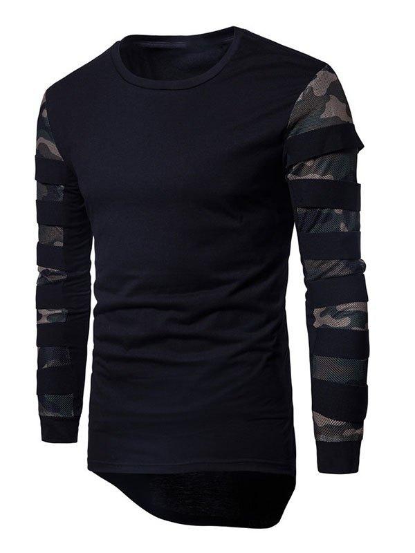 Men's Camo Mesh Patchwork Long-Sleeve Tee - Black S
