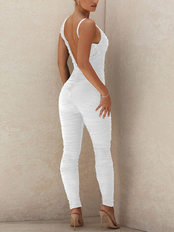 V Neck Ruched Jumpsuit - White S