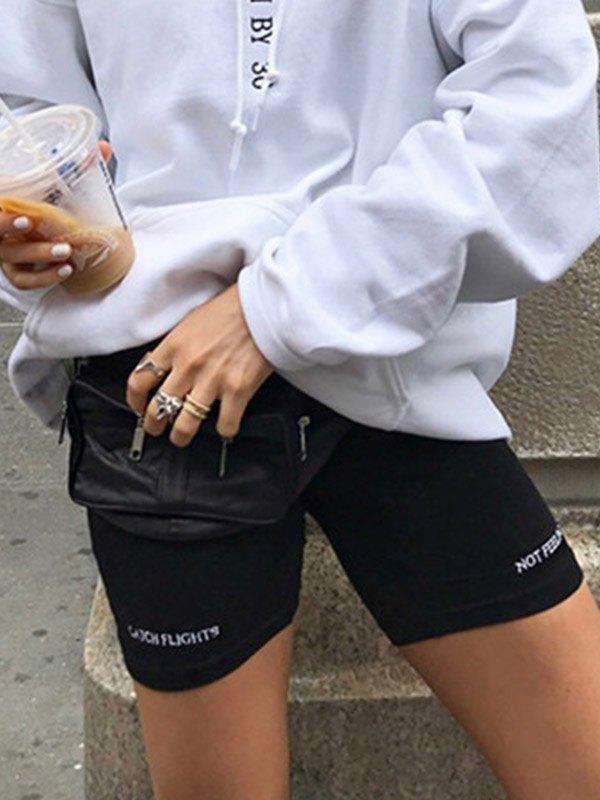 Letter Embroidered Biker Shorts -