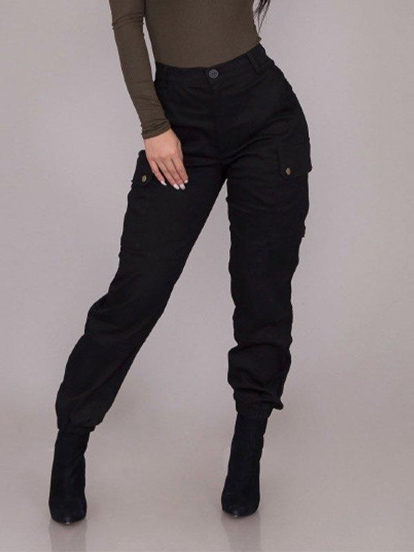 Pantaloni cargo a vita alta - Nero XL