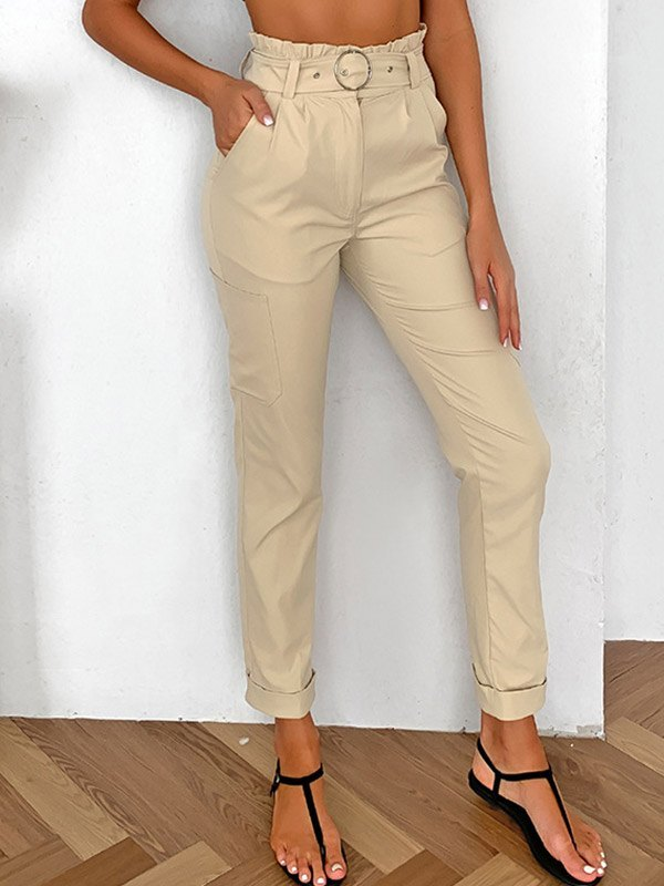 Belted High Waist Straight Pants - Apricot S