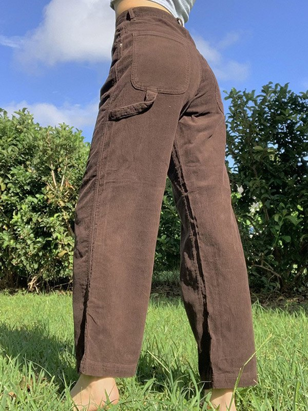 Vintage Corduroy Straight Pants - Brown S