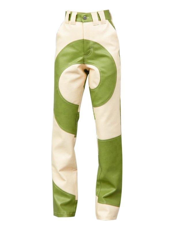 Swirl High Rise Pu Leather Pants - multicolorple Colors M