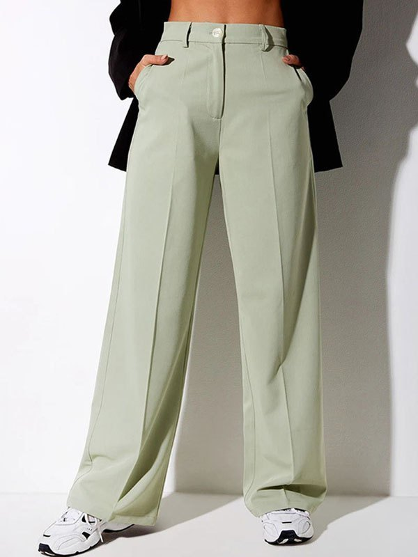 Straight Woven Suit Pants - Sorbet Lime Green M
