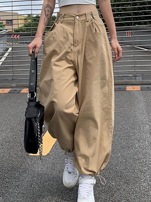 Adjustable Mid Waist Straight Pants - Apricot S