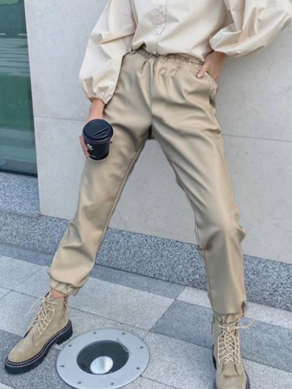 Pu Leather High Waist Tapered Pants - Apricot L