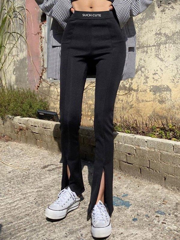 Zipper Split Flare Leg Pants - Black S