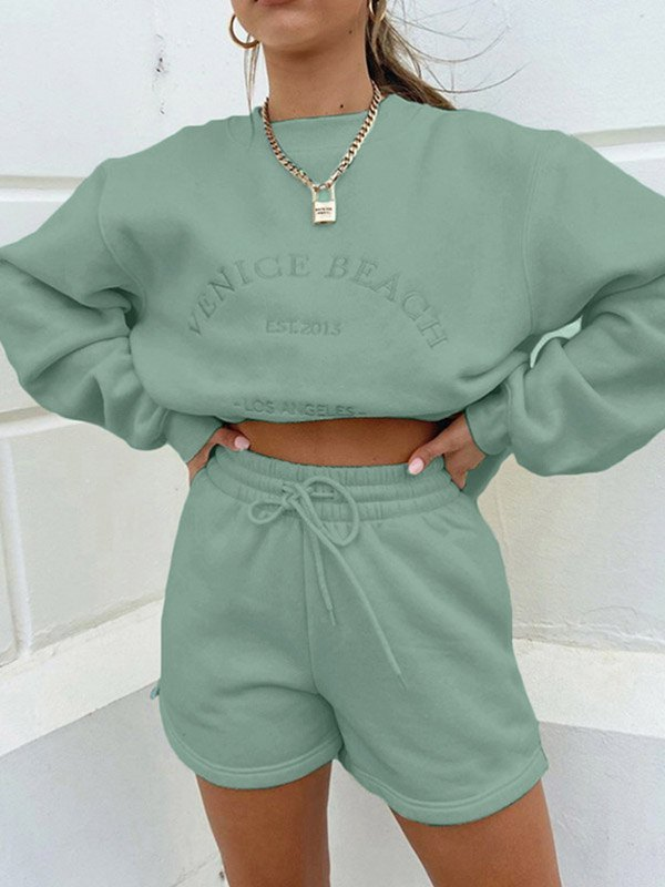 Letter Embroidered Tracksuit Set - Biscay Green S
