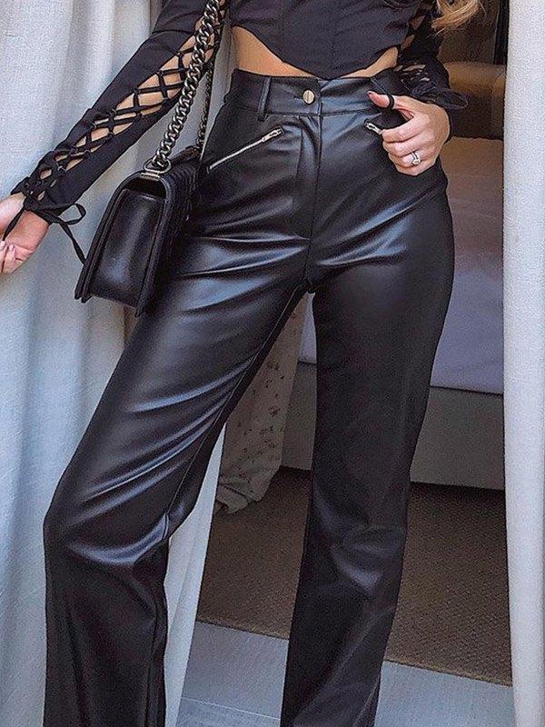 Pu Leather Bootcut Leg Pants - Black S