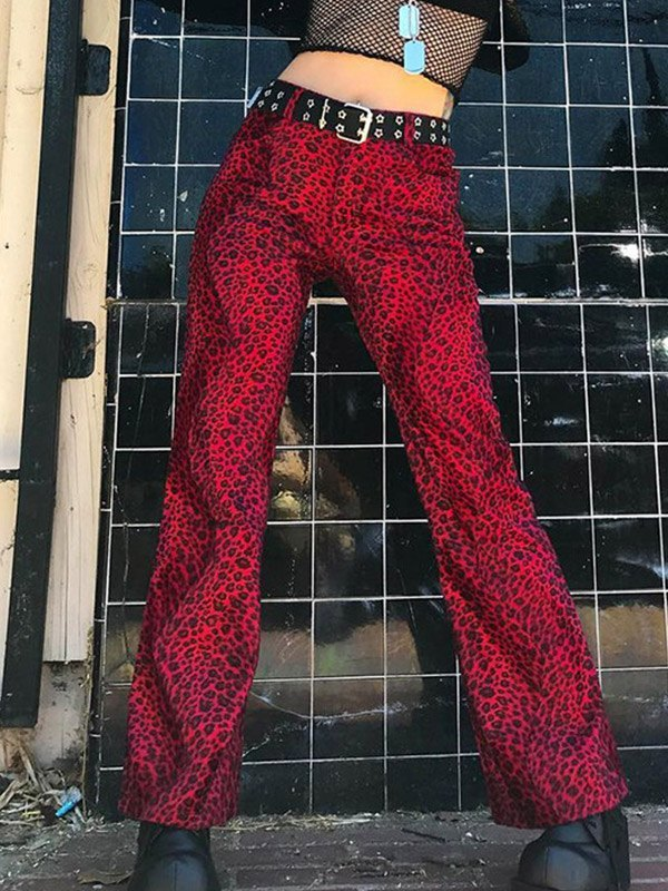 Leopard Print High Waist Straight Leg Pants - Red S