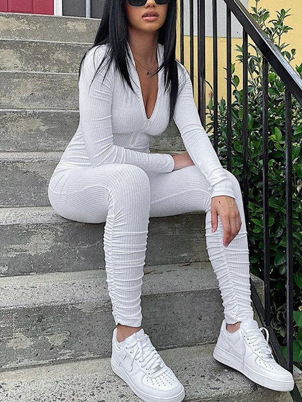 Front Zip Bodycon Ribbed Jumpsuit - White S