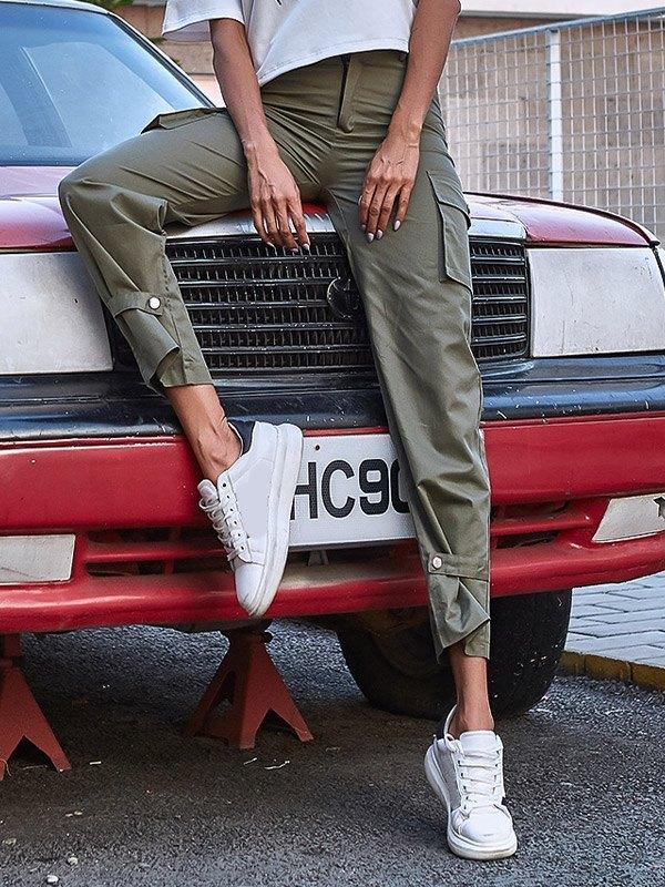 High Waist Straight Cargo Pants - Green S