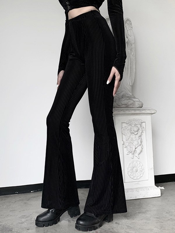 Ribbed Flare-Leg Pants - Black S