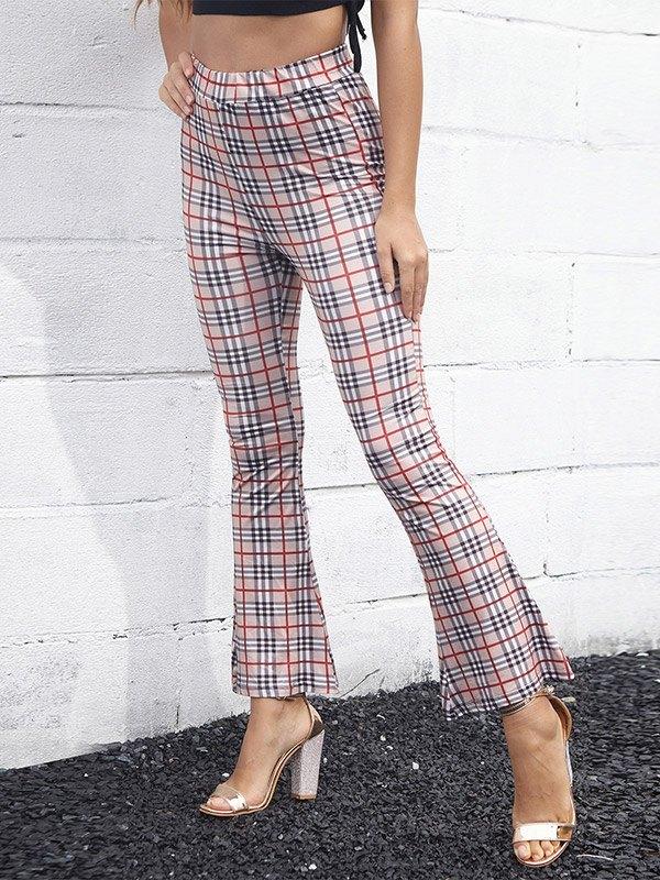 High Waist Plaid Flare-Leg Pants - Apricot S