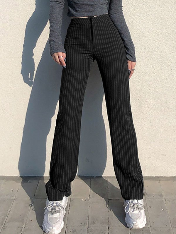Pinstripe Straight Tailor Pants - Black S