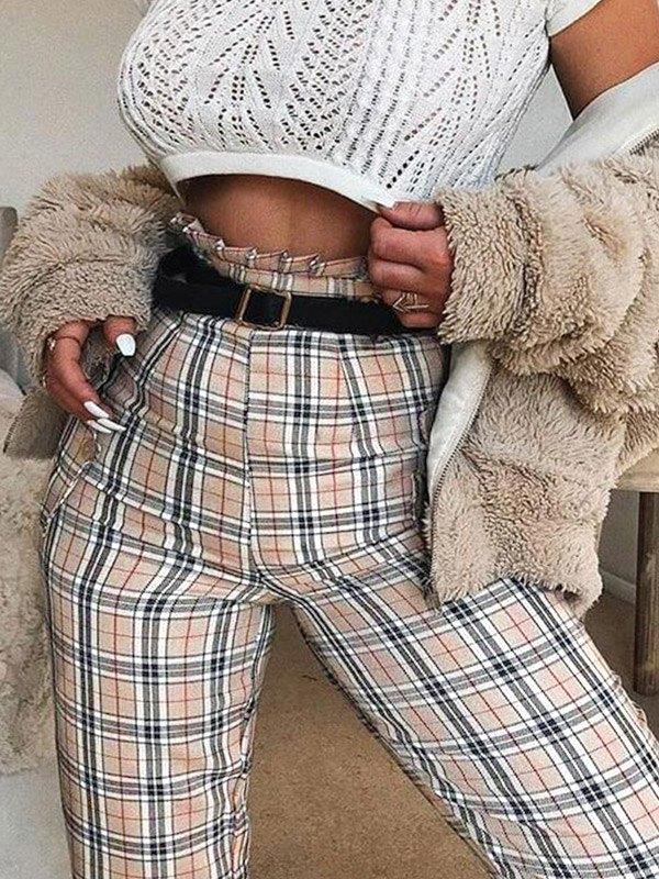 High Waist Plaid Cropped Pants - Apricot L