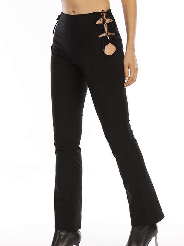 Side Tie Cutout Bootcut Pants - Black S