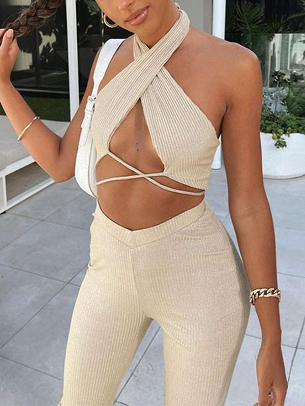Criss Cross Halter Two-Piece Outfit -