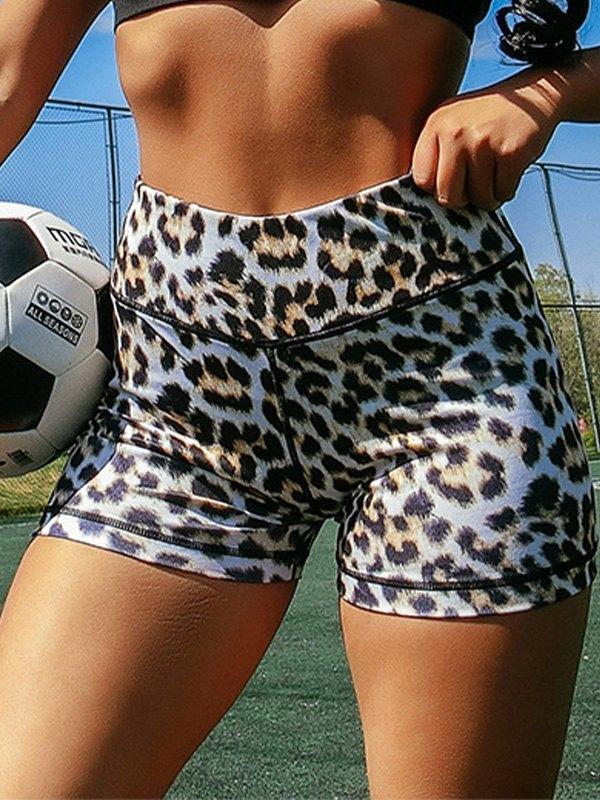 Leopard Print Yoga Shorts - Leopard Print S