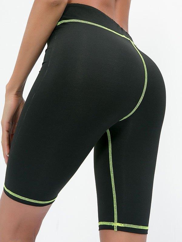 Fluorescent Stitched High Waist Active Shorts - Black L