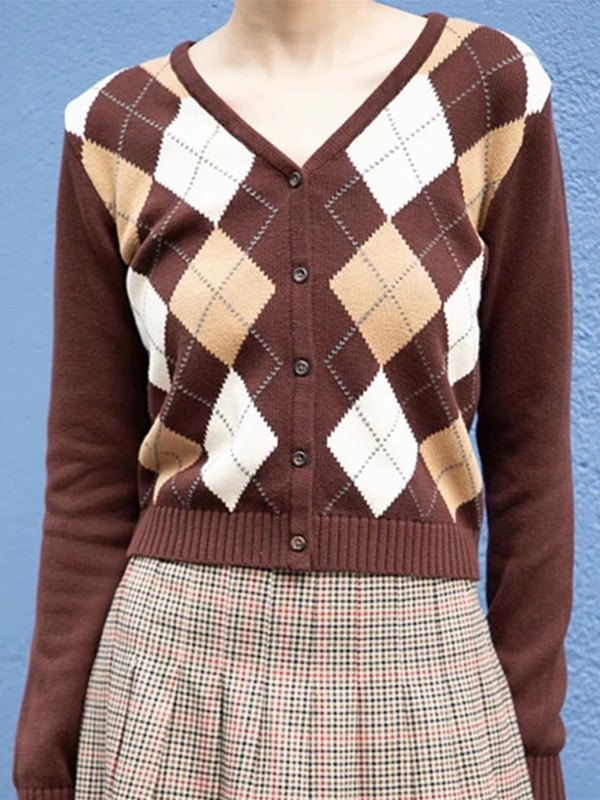 Single-breasted Argyle Knit Cardigan - Coconut Brown ONE SIZE