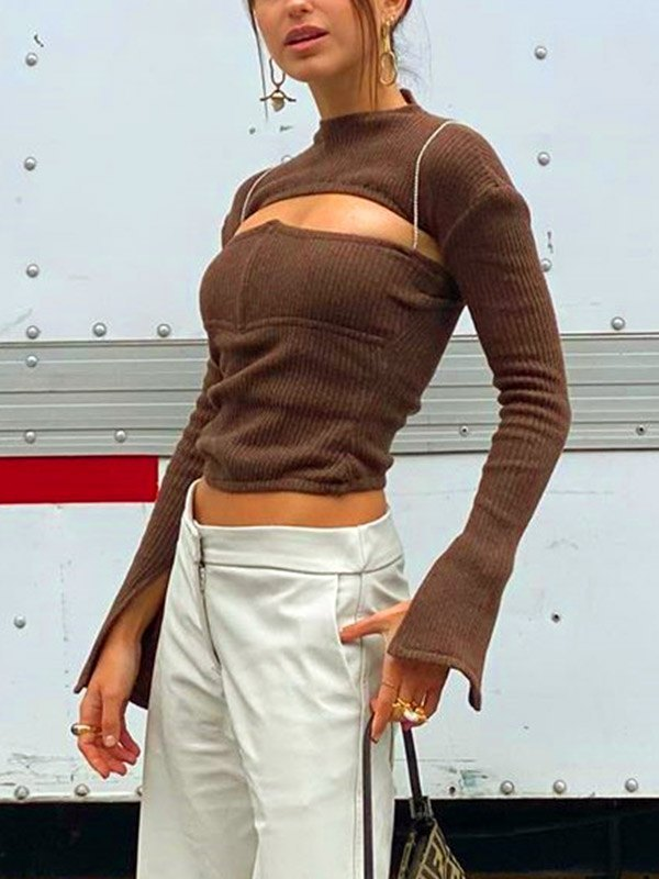 Crop Ribbed Knit Set - Coconut Brown L