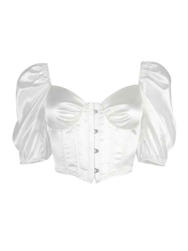 Short Sleeve Cropped Corset Bustier - White S
