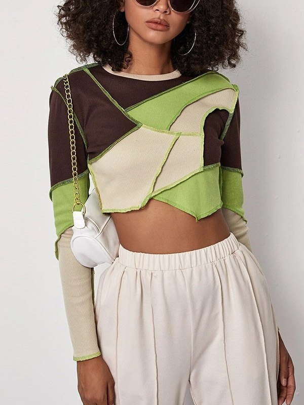 Stitched Cropped Rib Knit - Sorbet Lime Green M