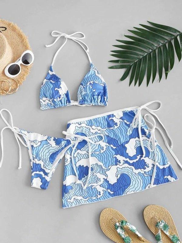 Spray Wave Three-piece Swimsuit - Blue S