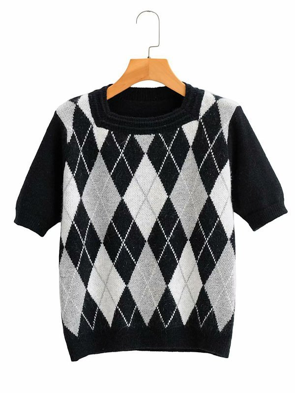Vintage Argyle Short Sleeve Knit - Black M
