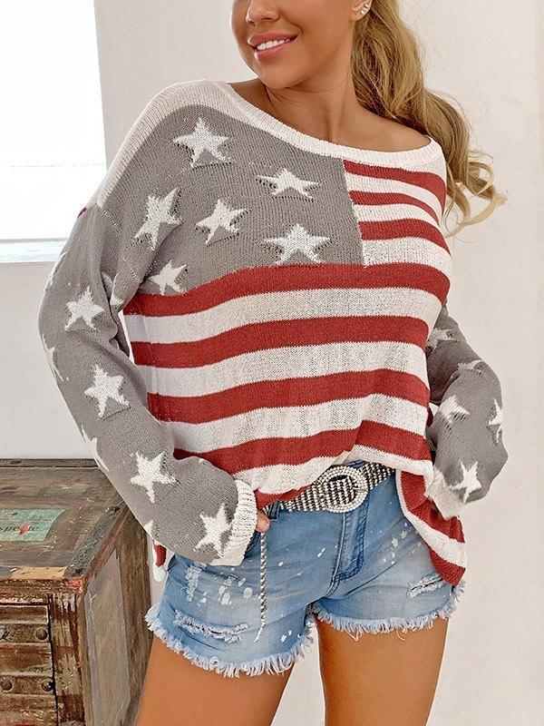 Star Striped Jumper Knit - Gray L