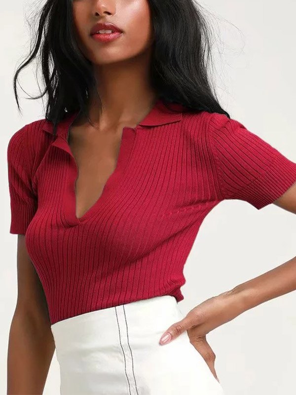Short Sleeve Ribbed Cropped Knit - Red M